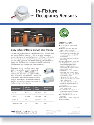 EuControls In-Fixture Sensor Flyer
