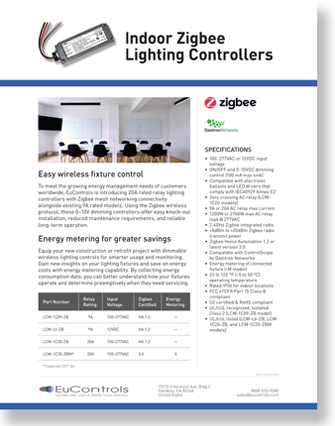 eucontrols LCM ECM Zigbee wirless controller Daintree catalog flash